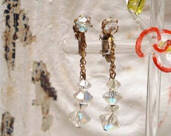Dainty Dangle Multi AB Crystal Clip Earrings