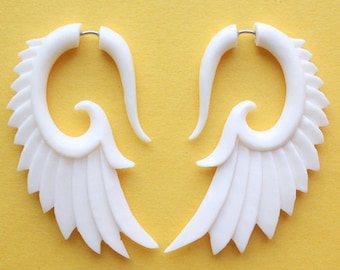 Wing Earrings - Natural White Bone - BRAVE - Hand Carved Organic Fake Gauges