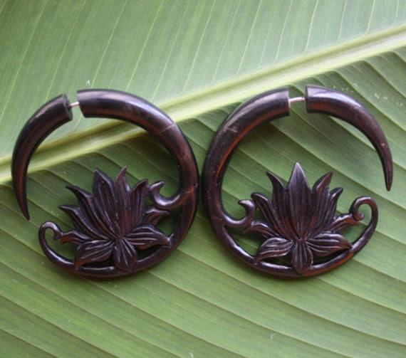 Lotus Flower Hoops - Natural Black Horn - DEEMA Fake Gauges - Hand Carved Tribal Earrings