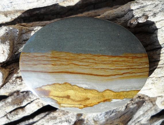 Oval Owyhee Picture Jasper Cabochon.   Brilliant Shine.