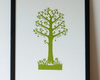 Personalized Wedding Memory Tree - bespoke hand cut paper cut