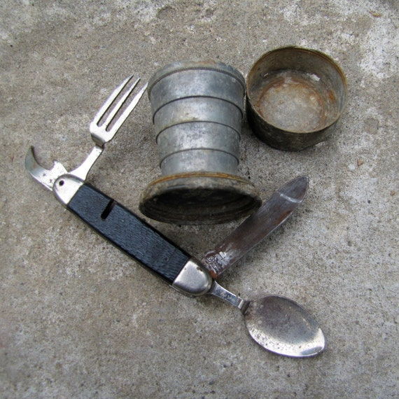Vintage Camping Supplies - Collapsible Tin Cup and Pocket Knife - Scouts