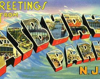 Greetings from Asbury Park (Style 2) - 10x16 Giclée Canvas Print of Vintage Postcard