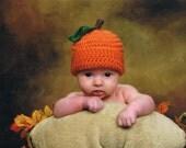Pumpkin Baby Hat Costume Halloween Girls Boys Crochet Fall Autumn Orange Cap Beanie Preemie - Two Years Old Photography Photo Prop