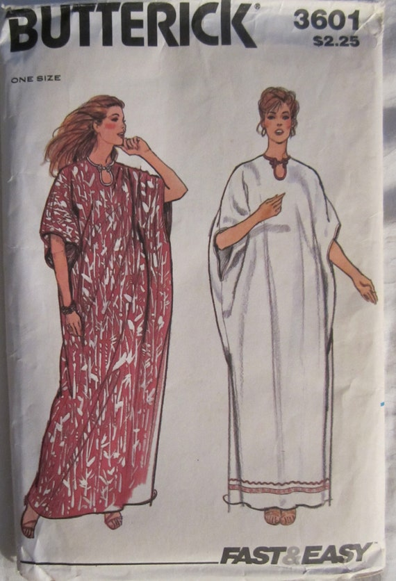 Vintage Caftan Pattern-Butterick No 3601-One Size Fits All-Fast & Easy