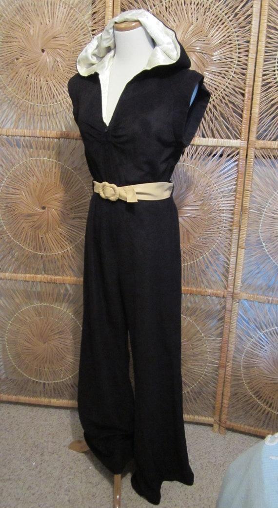 Vintage Bell Bottom Jumpsuit-Black Velour & Cream Satin Hooded Jumpsuit-Byer Too-Disco Diva-Circa 1970s