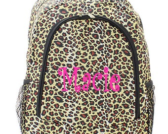 Personalized Cheetah Backpack - Girls Canvas Brown Booksack Monogrammed FREE