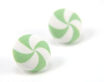 Green-white lollipop swirl large stud earrings -  fabric button with surgical steel posts
