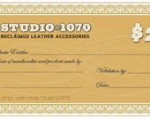 Gift Certificates now available in 25  dollar  increments for Studio1070 items