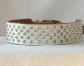 Greyhound Leather Dog Collar , Sighthound collar, with over 100 Crystal Rivets - Three sizes from 10 -16 inches