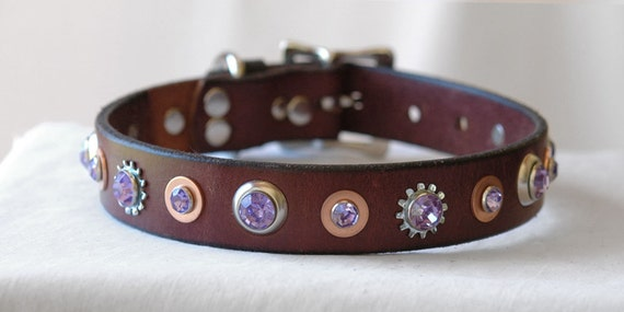 Reserved for Tony. Brown Leather Dog Collar with Lavender Rivets, Copper Findings - Size Large - Eco Collar