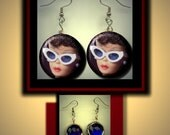 BARBIE with white Sunglasses Retro Doll Altered Art Dangle Earrings with Rhinestone