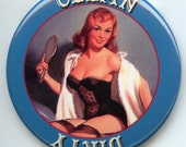 "Vintage PIN UP Girl Blue Dishwasher Clean/Dirty 2.25"" large Round  Magnet"
