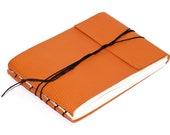 """Orange Leather Journal or Leather Sketchbook, Medium Sized Notebook, Textured Gecko Orange, Handbound Coptic Stitch - 3 3/4"""" x 5 1/2"""""""