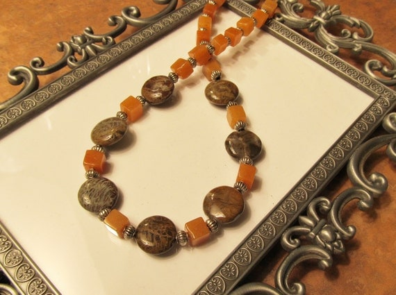 Snakeskin Agate and Red Aventurine Necklace