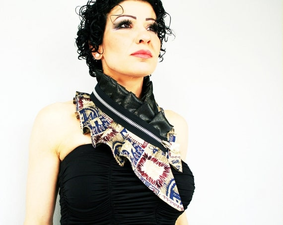 Collar necklace from silk in black and brown with massive black zipper, tribal inspired, festival accessory