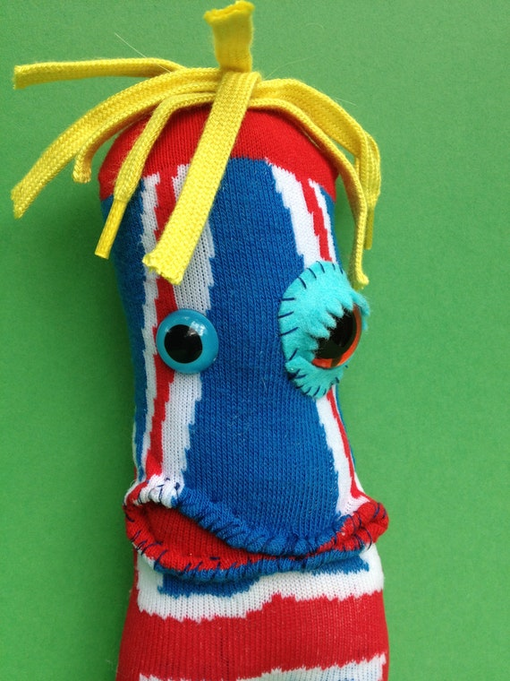 Sock Monster-Union Jack- British Olympics-GB London Olympics 2012- steampunk plush.
