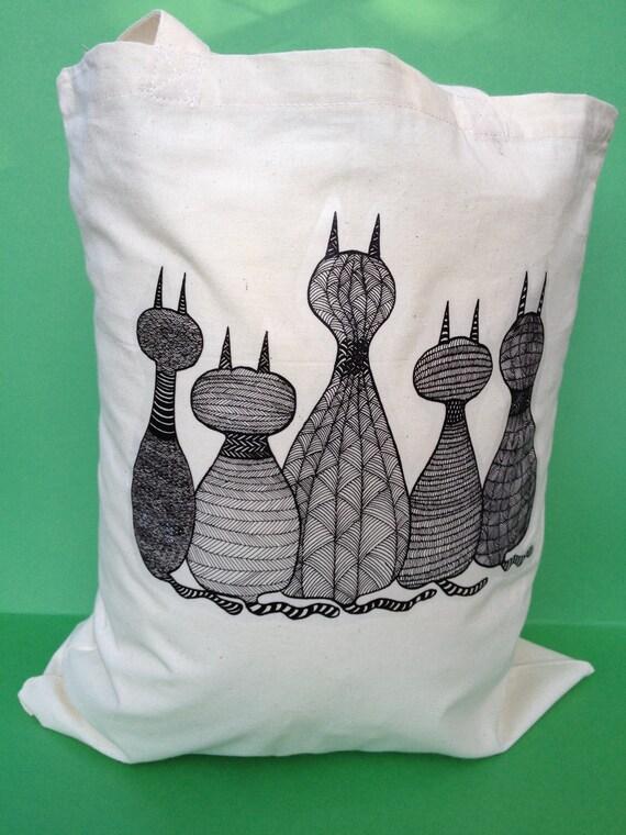 Tote Bag-cotton tote bag-cat print-fabric tote bag - long handle tote bag- shopping tote bag - reusable bag.