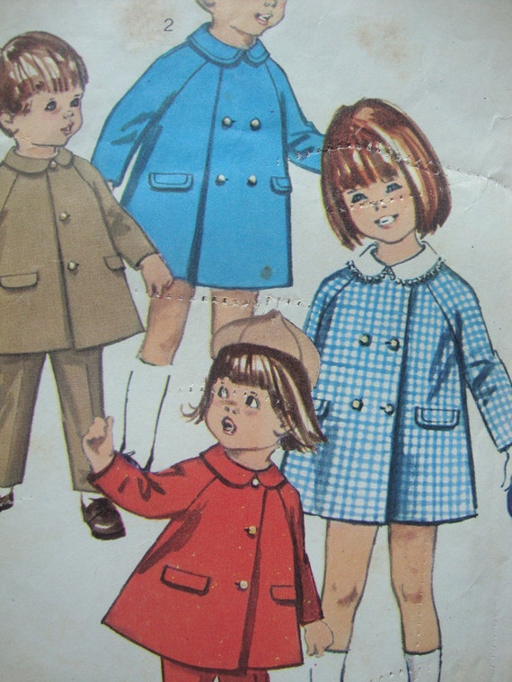 vintage 1966 simplicity toddlers COAT slacks sewing pattern SIZE 3 double breasted lined CLASSIC raglan sleeves