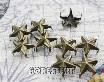 100Pcs 12mm Antique Brass STAR Studs Metal Studs (BS12)