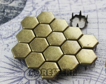 500Pcs 10mm Antique Brass Flat Regular Hexagon Studs (BH10)