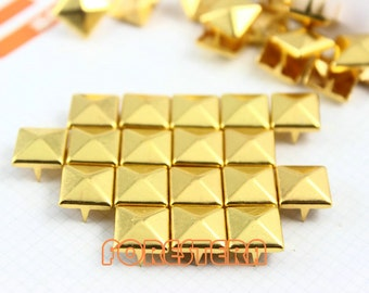 50Pcs 10mm Gold Pyramid Studs Metal Studs (JP10)