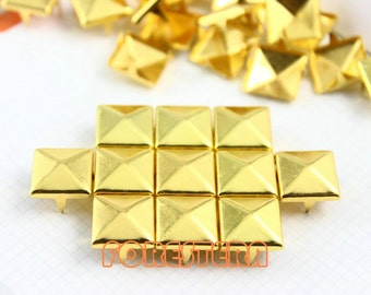 200Pcs 12mm Gold Pyramid Studs Metal Studs (JP12)
