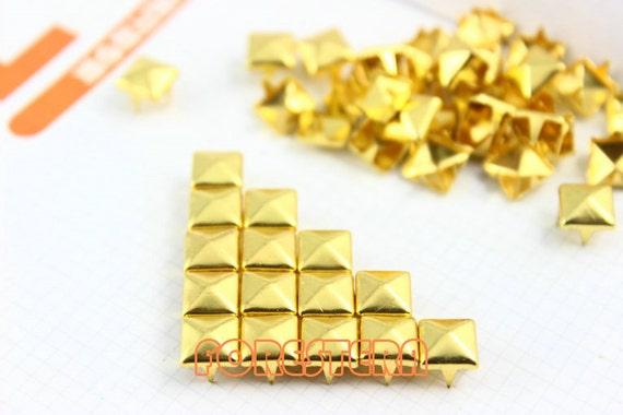 50Pcs 7mm Gold Pyramid Studs Metal Studs (JP07)