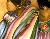 friends in guatemala  art print  watercolor