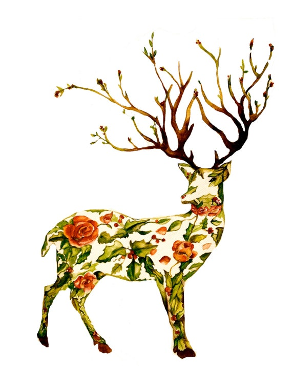 The holiday deer watercolor art print  gift idea