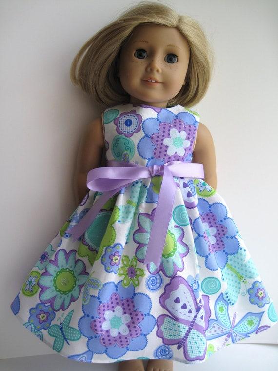 Blue Flowers Sleeveless Dress for Your American Girl Doll