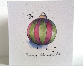 Christmas Green Bauble with Pink Stripes Card from Original Illustration