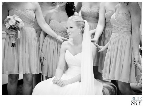 Custom Made Ivory Silk Chiffon Bridal Wedding Veil, 8 Standard Lengths Available