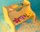 Personalized Two Step Stool with Flowers (includes shipping-US)