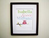 Owl Baby Name Print for Girl - 11X14