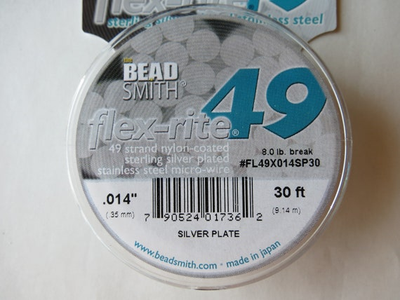 flex-rite nylon-coated Bead Wire 49 Strand .014 diameter 30 feet Sterling Silver Plated