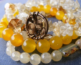 Steampunk Sunshine Bracelet Collection:  Yellow Jade Pale Citrine Czech Glass and Brass