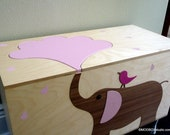 Toy Box Storage Chest Trunk, Elephant With Pink Detailing and 1 Compartment