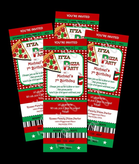 Items similar to Printable Pizza Party Ticket Invitations – Pizza Party Invitation Template Free