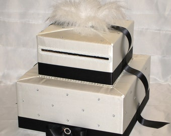Elegant Custom Made 2 tier Wedding Card Box -Feather Topper-any color combination