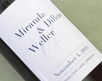 Custom Wedding Wine Label with Over sized Initial
