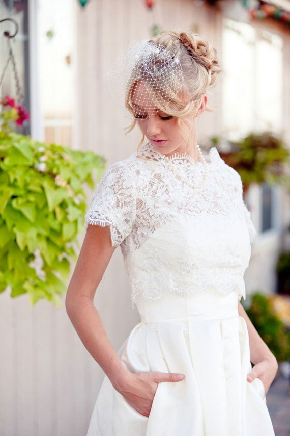 Items similar to christine 2 piece tea length wedding for Tea length wedding dress with bolero jacket