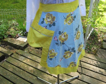 apron, blue and yellow, 1950's