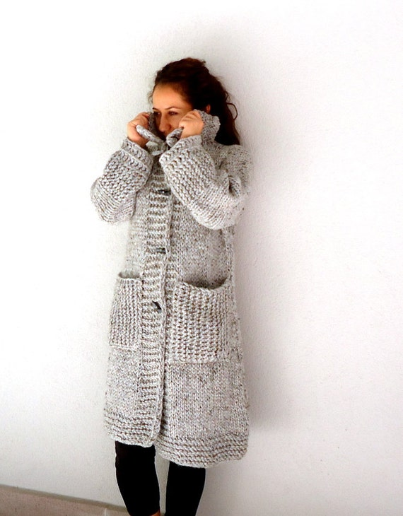 Knit Coat, Gray hand knitted winter coat long sleeve Cardigan  large pockets and 4 bone button,WINTER SALE