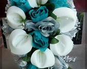 Bridal Bouquet Silk Wedding Flowers Teal/Jade Silver White CALLA Roses Bride