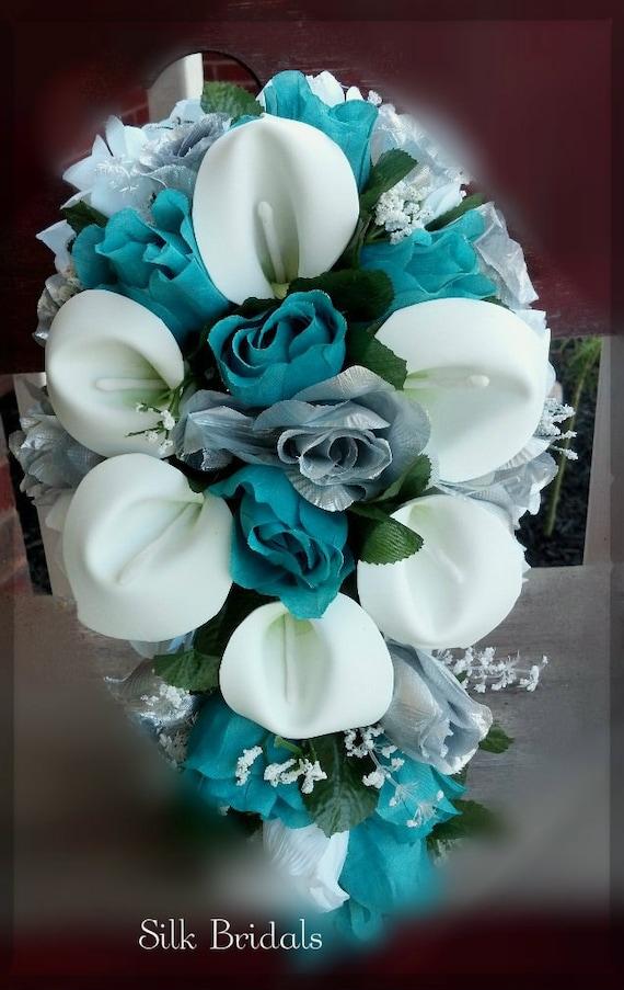 Bridal Bouquet Silk Wedding Flowers Teal Jade Silver White
