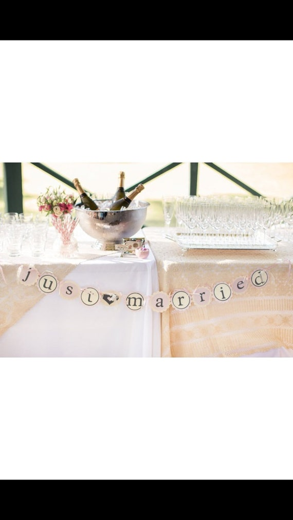 """RESERVED FOR FIONA Just married """" Wedding Banner- Cream &pink style"""