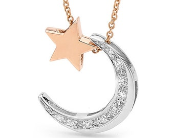 Rose gold star and white gold diamond crescent moon Necklace, rose gold star and white gold moon pendant, star and moon necklace