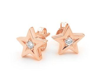 Diamond Star studs, Small Rose Gold Diamond Star stud earrings,