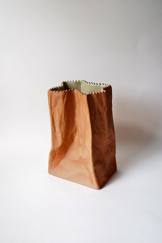 Sale 1970s Brown Paper Bag Porcelain Vase Tapio Wirkkala